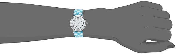 RELOJ TIMEX PARA MUJER - TW2R24400 Weekender Teal Gingham de nylon con correa antideslizante