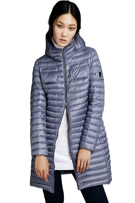 queenshiny Damen Lange dünn Daunenjacke Mantel Jacke mit Kapuze Winter