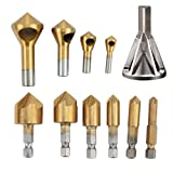 Deburring External Chamfer Tool Stainless Steel Remove Burr Tools, 6Pcs Countersink Drill Bit, Deburring Metal Wood Drill Bit set, 90 Degree Center Punch Tool Sets For Wood Quick Change Bit