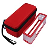 Feamos Carry Case with Soft Cover for Bose SoundLink Mini 1/2 Bluetooth Speaker for Travel (Red) (Color: Red)
