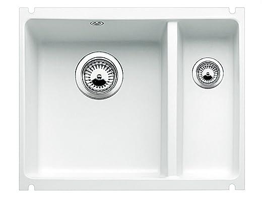 Blanco Subline 350/150-U Kristallweiß Glänzend Keramik Weiß Unterbau ...