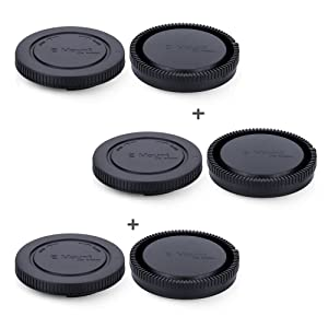 Rear Lens Cap & Body Cap JJC Rear Lens Cover Body Cover for Sony E Mount A6600 A6500 A6400 A6300 A6100 A6000 A5100 A5000 A9 A7 III II A7R III II A7s II A7S NEX-5 NEX-6 Replace Sony ALC-B1EM Cap -3Pack (Color: 3 Pack)