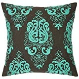 Pas Home Embroidered Cushion Cover Decorative Cotton Green Brown 16 Inch X 16 Inch 1 Pc