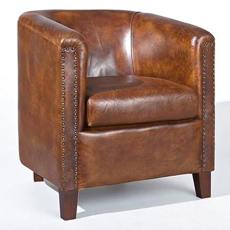 Fauteuil coloris brun en cuir - Dim : 77 x 77 x 82 cm -PEGANE-