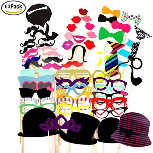Foonii 63PCS Accessoires Photobooth Bricolage Moustache Lunettes Chapeau Lèvre Avec Bâton pour Fete vacances de fête de noël fête d'anniversaire