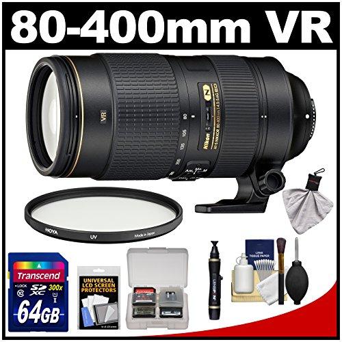 Nikon 80-400Mm F/4.5-5.6G Vr Af-S Ed Nikkor-Zoom Lens With Uv Filter + 64Gb Card + Kit For D3200, D3300, D5200, D5300, D7000, D7100, D610, D800, D810, D4S Dslr Cameras