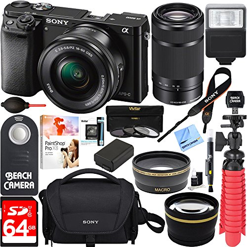 Sony-Alpha-a6000-243MP-Mirrorless-Camera-16-50mm-55-210mm-Zoom-Lens-Black-64GB-Accessory-Bundle-DSLR-Photo-Bag-Extra-BatteryWide-Angle-Lens2x-Telephoto-LensFlashRemoteTripod