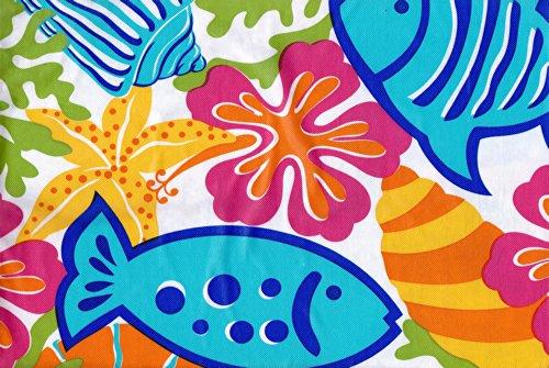 Umbrella with Hole Zipper Tablecloth - Colorful Sea Fish Shells Coral Reef