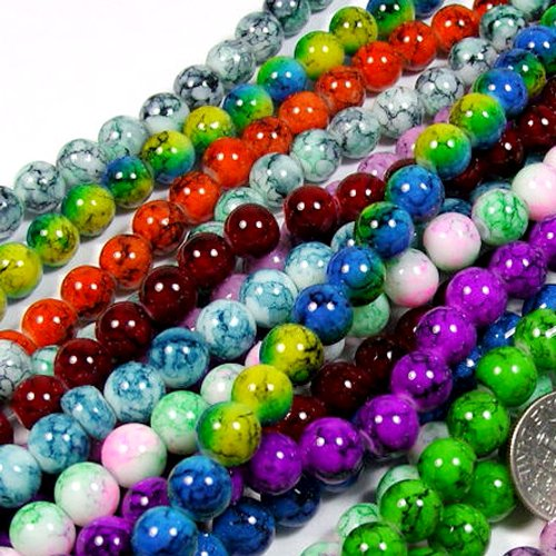 Beading Station 50-Piece Mix Artistic New Marble Design Glass Round Beads, 8mm (Glass Bead Supplies compare prices)