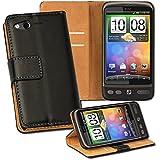 OneFlow PREMIUM - Book-Style Case im Portemonnaie Design mit Stand-Funktion - für HTC Desire S - SCHWARZ