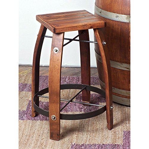 Reclaimed 24-Inch Stave Wine Barrel Counter Stool with Wood Seat