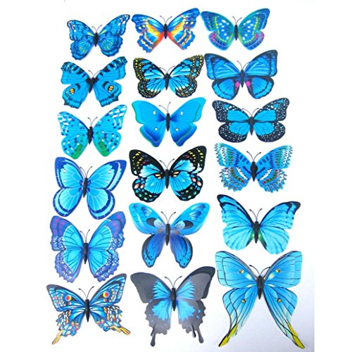 Ussore 12PC 3D Butterfly Wall Sticker Fridge Magnet Room Decor Decal Applique Art For Kids Home living room bedroom bathroom kitchen Office Wallpaper Window (Blue)