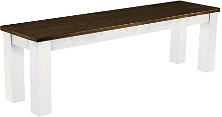 Brasil Furniture Dining Room Bench, Solid Pine Wood Oiled and Waxed Assorted Colours, Various Sizes, Pine, Eiche antik - Weiß, L/B/H: 150 x 38 x 44 cm