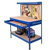 Safstar Multipurpose Workbench Workshop Tool Storage Tabletop Workstation Assembly Worktable with Sliding Organizer Drawer (Blue) (Color: Blue)