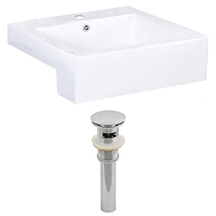 "American Imaginations AI-14856 Rectangle Vessel Set and Drain, 20"" x 20"", White"