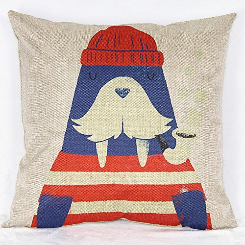 JamieSaleStore Pipe Smoking Sailor Walrus 45*45cm Cotton linen pillow cushion cover