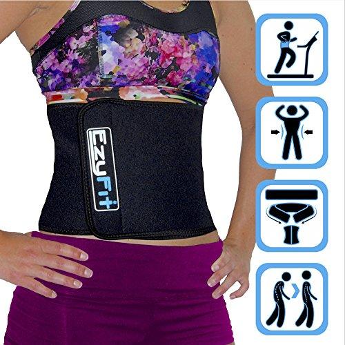 EzyFit Adjustable Waist Trimmer Belt - Stomach Body Wrap & Back Lumbar Support -Trim Curves, Strengthen Tummy Abs, Improve Posture, Belly Fat Burning 8 Inch Wide Belt, Money Back Guarantee