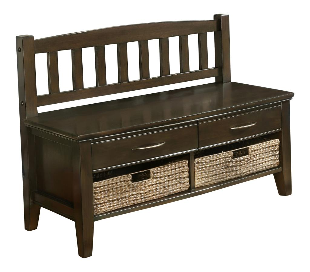 Simpli Home Williamsburg Entryway Storage Bench W Drawers Cubbies Walnut Brown