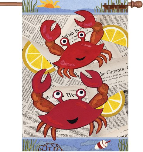Premier Kites 52051 House Illuminated Flag, Crab Feast, 28 by 40-Inch