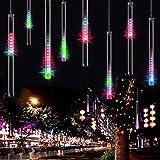 Adecorty Falling Rain Lights Meteor Shower Lights Rain Drop Lights Christmas Lights 30cm 8 Tube 144 LEDs, Cascading Icicle Lights, Snowfall Lights for Christmas Tree Holiday Decor (Multi Color) (Color: Multi Color, Tamaño: US Plug)