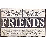 """Adeco Decorative Wood """"Friends"""" Wall Hanging Sign Plaque, Off-White and Black"""