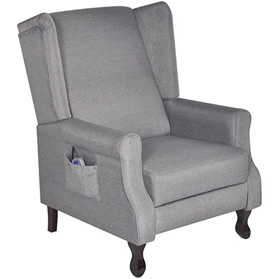 vidaXL Poltrona TV massaggio casa tessuto grigio morbido regolabile reclinabile