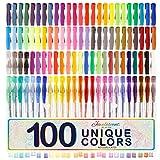 US Art Supply Jewelescent 100 Unique Color Gel Pen Set - Professional Artist Quality Gel Ink Pens in Vibrant Colors - Standard, Glitter, Metallic, Neon, and Pastel - 100% Satisfaction Guarantee