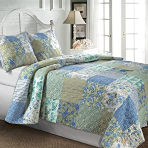 Greenland Home Vintage Jade 105-Inch by 95-Inch King Quilt Set