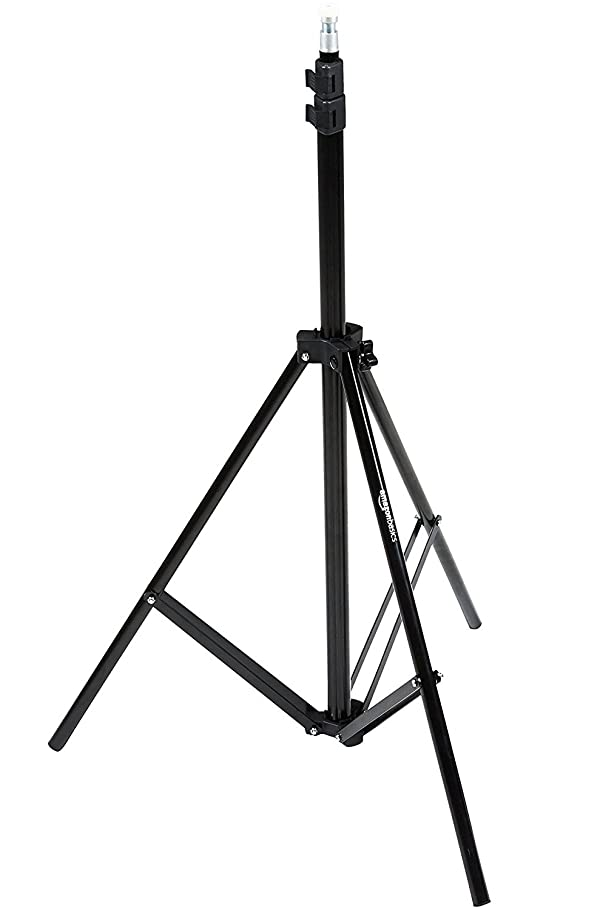 AmazonBasics Aluminum 7-Foot Light Stand with Case (Color: Black, Tamaño: 1-Pack)