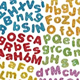 Glitter Foam Self-Adhesive Upper & Lower Case Letters 6 Assorted Colours for Kids to Personalise Cards and Crafts (Pack of 850)
