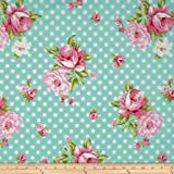 Tanya Whelan Rosey Roses and Mums Teal Fabric