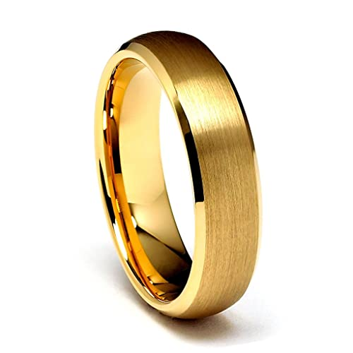 6mm-Beveled-14K-Yellow-Gold-Plated-Cobalt-Free-Tungsten-Carbide-COMFORT-FIT-Wedding-Band-Ring-for-Men-and-Women-Size-5-to-9-