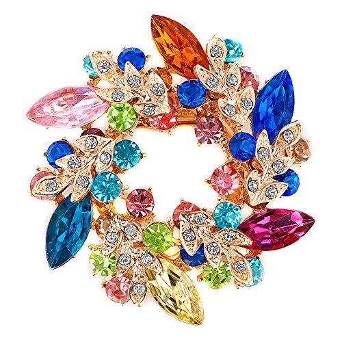 LuckyJewelry Fancy Vintage Rhinestone Crystal Flower Brooch Bouquet Pins For Sale Cheap 0