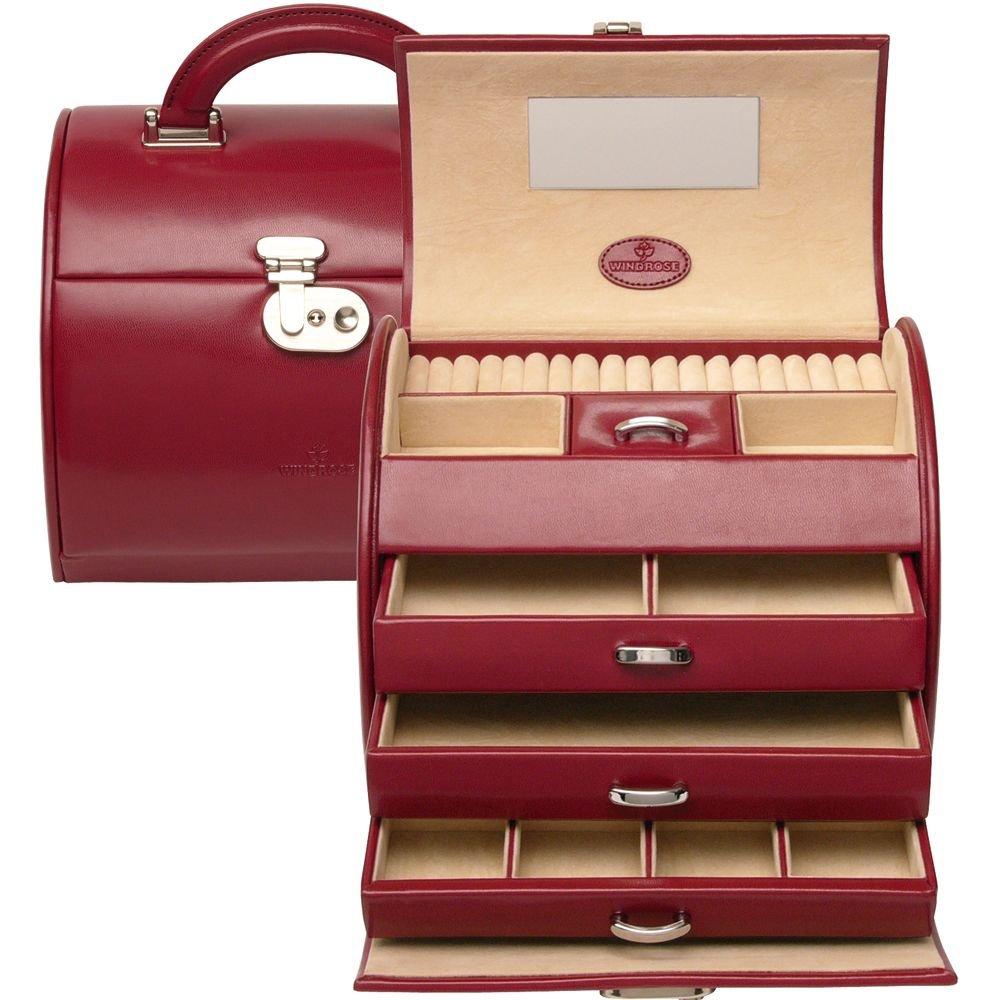 Windrose Merino Schmuckkoffer 4 Etagen 22 cm rot online kaufen