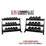Rep Fitness Rep 5-75 lb Rubber Hex Dumbbell Set with 2 Racks and 2 Free Rubber Mats (Color: OptionB: 5-75withStand)