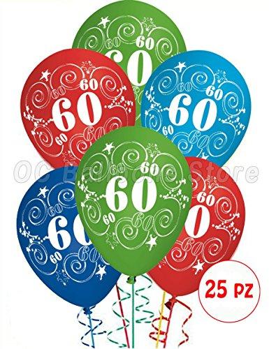 Palloncini Compleanno 60 anni addobbi e decorazioni per feste party confezione 25pz