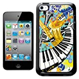 Fancy A Snuggle Jazz It Up With Keyboard Saxaphone and Trumpets Design Hard Back Case Cover for Apple iPod Touch 4th Generation