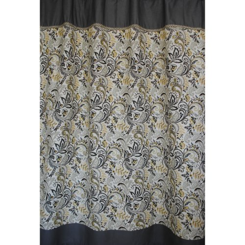 Findlay Luxury Paisley Floral Fabric Shower Curtain In Yellow Ivory Charcoal Grey
