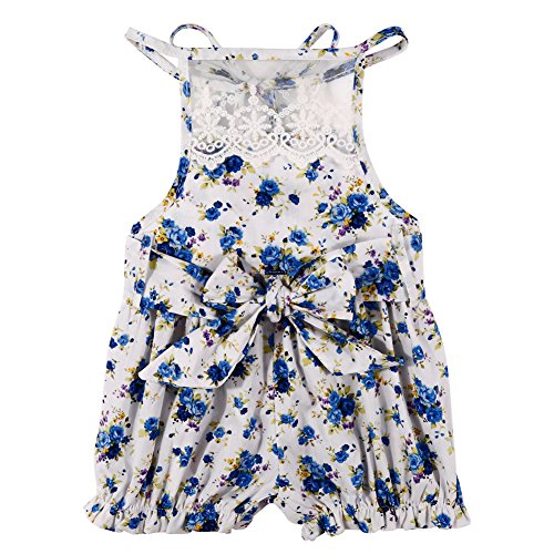 [MIOIM Newborn Baby Girl Lace Floral Bowknot Backless Romper Bodysuit Jumpsuit Outfits] (Baby Designer Clothes)