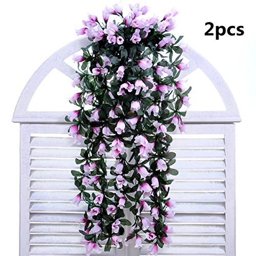 Coobl®artificial Silk Rose Bud Garland Plants Vine Flowers Floral Wedding Party Wall Home Decor Purple(2pcs)(purple)