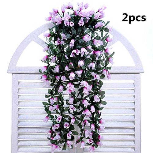 Coobl®artificial Silk Rose Bud Garland Plants Vine Flowers Floral Wedding Party Wall Home Decor Purple(2pcs)(purple)