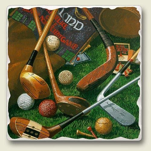 AbsorbaStone Tumbled Tile Coaster set~ Antique Golf ~ 4 Tile Drink Coasters ~ code 884