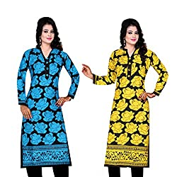 Spangel Fashion Women's Cotton Full Stitched Kurti (Combo Pack of 2)
