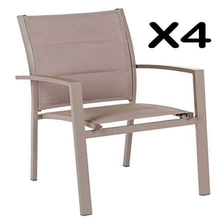 Lot de 4 Fauteuils empilable Alisea Taupe, 58 x 59 x 90 cm -PEGANE-