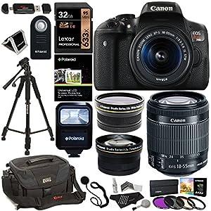 Canon EOS Rebel T6i Digital SLR Camera + EF-S 18-55mm IS STM Lens + Polaroid HD .43x Wide Angle & 2.2X Telephoto Lens + Lexar 32GB Memory Card + Tripod + 58mm Filter Kit + Canon Bag + Accessory Bundle