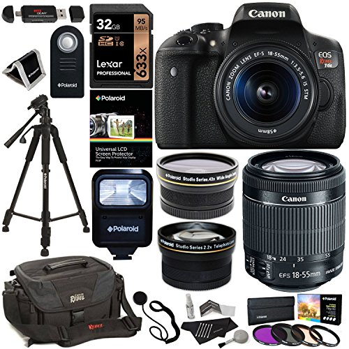 Canon-EOS-Rebel-T6i-Digital-SLR-Camera-EF-S-18-55mm-IS-STM-Lens-Polaroid-HD-43x-Wide-Angle-22X-Telephoto-Lens-Lexar-32GB-Memory-Card-Tripod-58mm-Filter-Kit-Canon-Bag-Accessory-Bundle