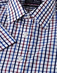 Slim Fit Pure Cotton Easy to Iron Short Sleeve Checked Shirt
