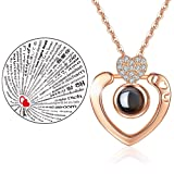 Inf-way I Love You Necklace, 100 Languages Projection on Round Onyx Pendant Loving Memory Collarbone Necklace 1 Pcs (925 Heart Diamond Gold) (Color: 925 Heart Diamond Gold)