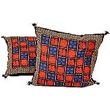 Ufc Mart Hand Block Bagru Print Cotton Cushion Cover Pair, Color: Multi-Color, #Ufc00507