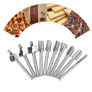 Muye 10pcs 1/8 Shank Mini Woodworking Blade For Edge Engraving Wood Router Bit Machine Pattern Trimming Milling Router Bits